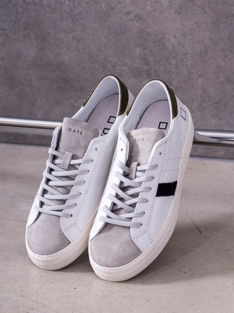 D.A.T.E. Sneakers uomo HILL LOW VINTAGE CALF WHITE-ARMY