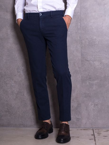 Powell Pantaloni blu chinos in cotone armaturato
