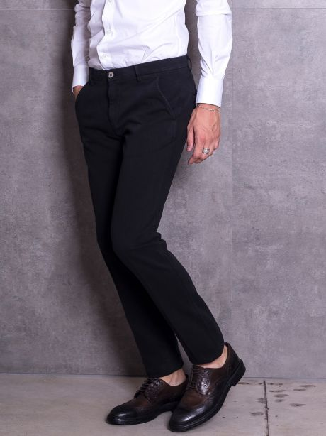 Powell Pantaloni chinos nero in jersey