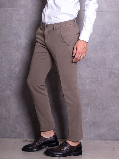 Powell Pantaloni chinos fango in jersey