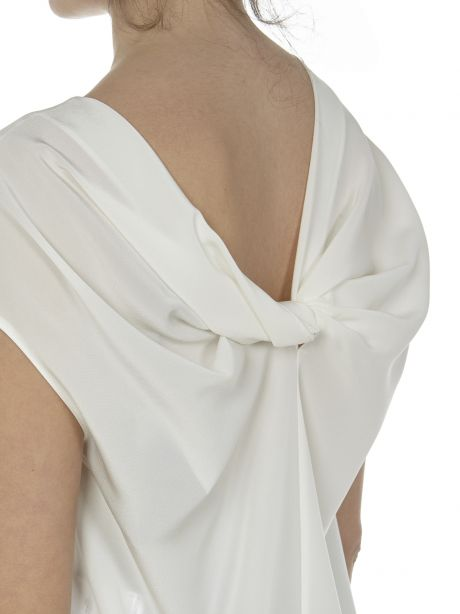 Aspesi Top bianco in crepe de chine