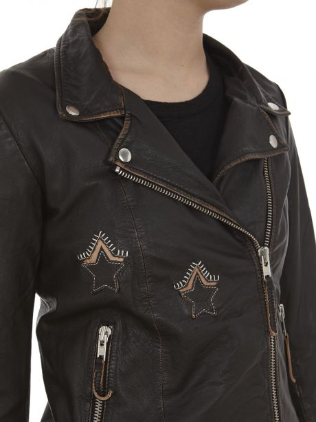 BULLY Chiodo in pelle nera vintage con stelle