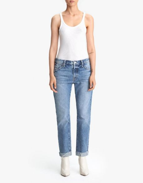 MOTHER Jeans The Scrapper Cuff Ankle Fray blu