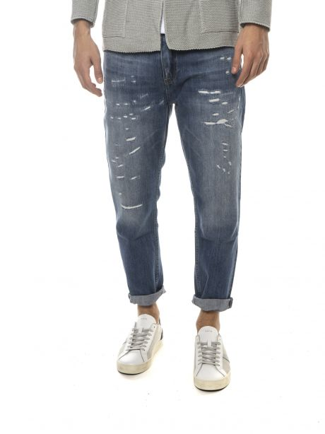 P.GRAX Jeans blu cropped fit con rotture