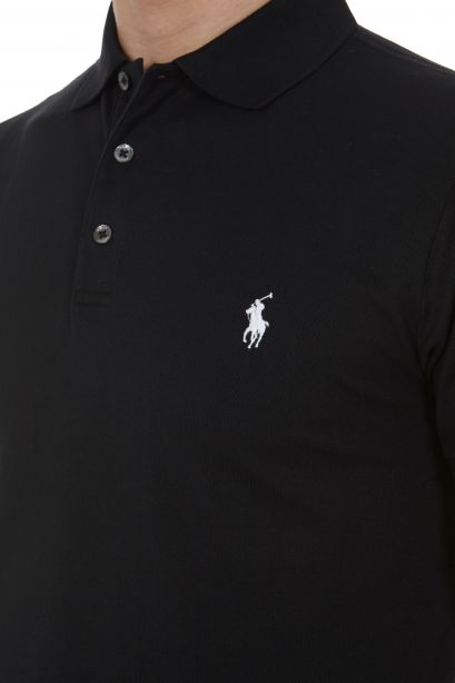 POLO RALPH LAUREN Polo nera in piqué stretch slim-fit