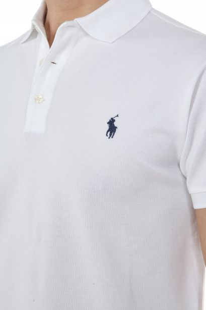 POLO RALPH LAUREN Polo bianca in piqué stretch slim-fit